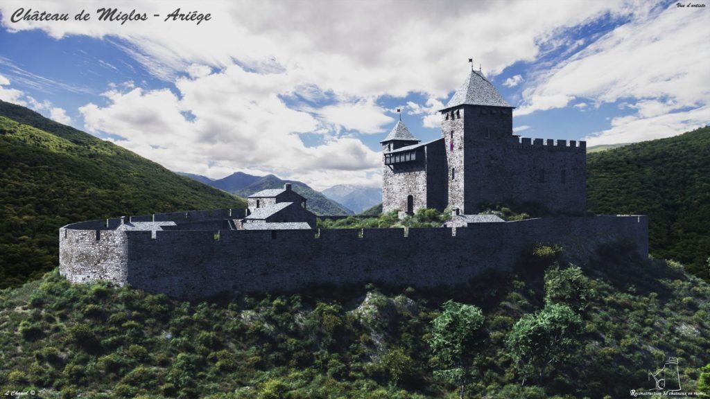 Hypothèse de reconstruction château de Miglos par Laurent Chanal - © Reconstruction 3D châteaux en ruines
