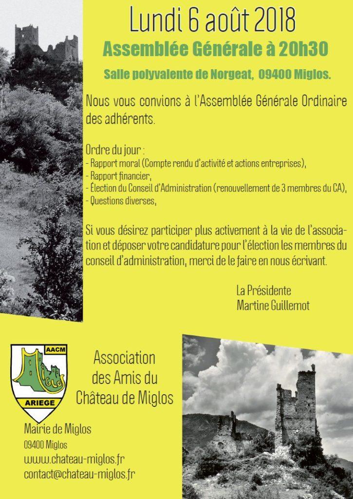 6 Août 2018 - Assemblée Générale des adhérents AACM