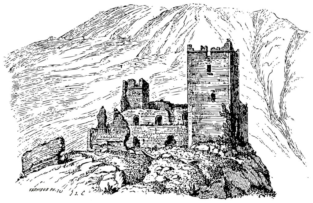 Château de Miglos 1884 - Lithographie par Jules de Lahondès