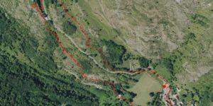 Le tracé du futur chemin d'interprétation autour du château - Crédit AACM ©