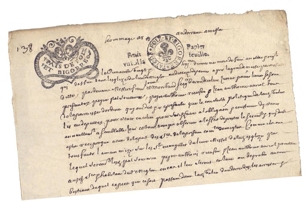 Renouvellement du traité, le 23 juin 1680, entre la paroisse d'Ordino (Andorre) et la communauté de Miglos (AD 09 , 5 E 670, f°138)