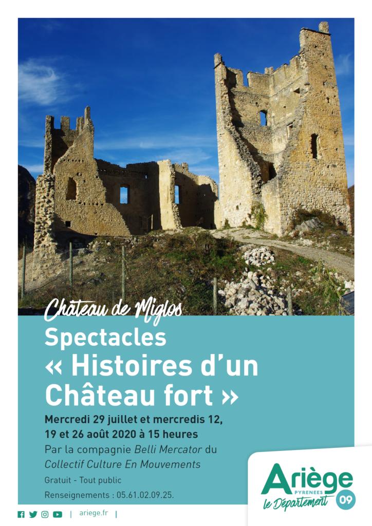 """Spectacles Miglos """"Histoires d'un Château fort"""" 29 juillet et 12, 19 et 26 août 2020"""